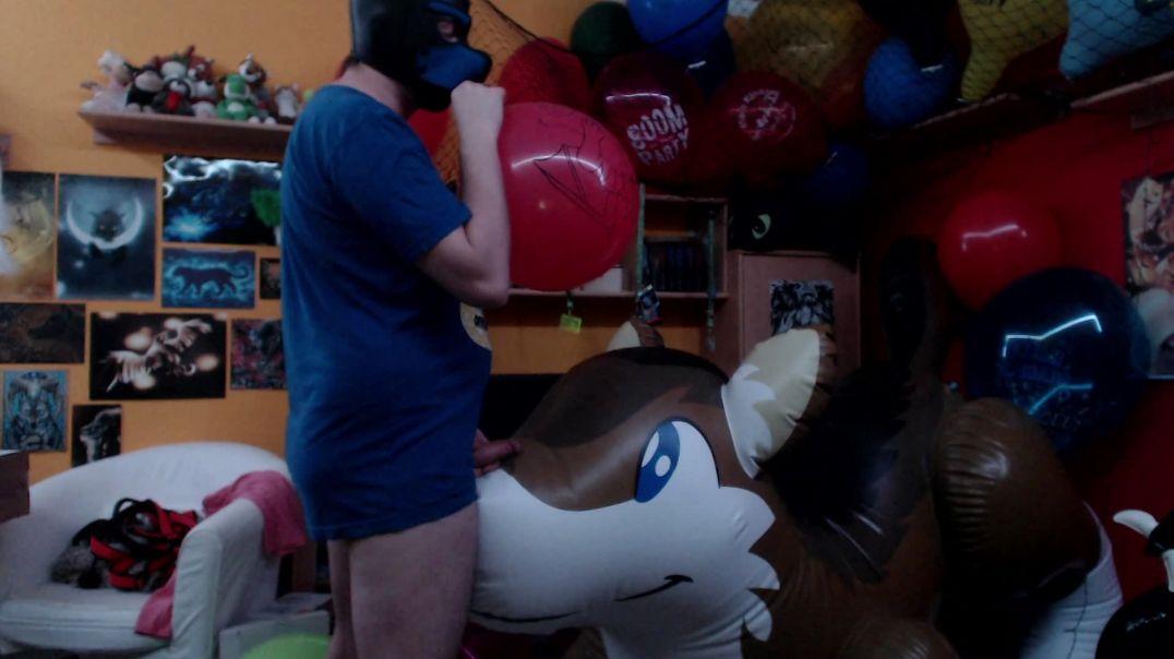 Balloon blow & PP wolf jackoff