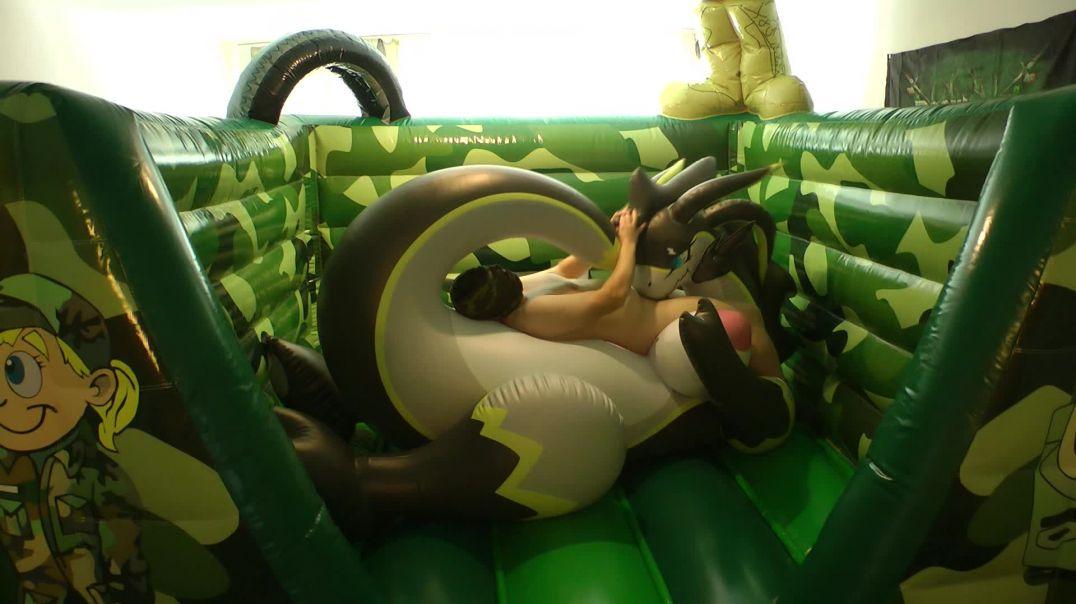 Dragoness Blow Jop on Bouncy Castle