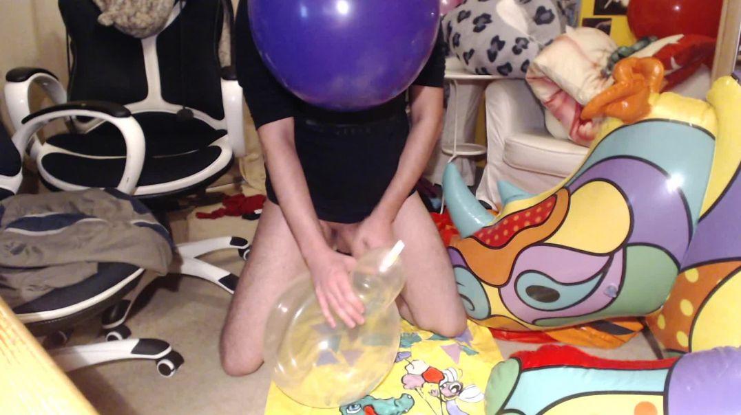 Balloon blow, paw & cum
