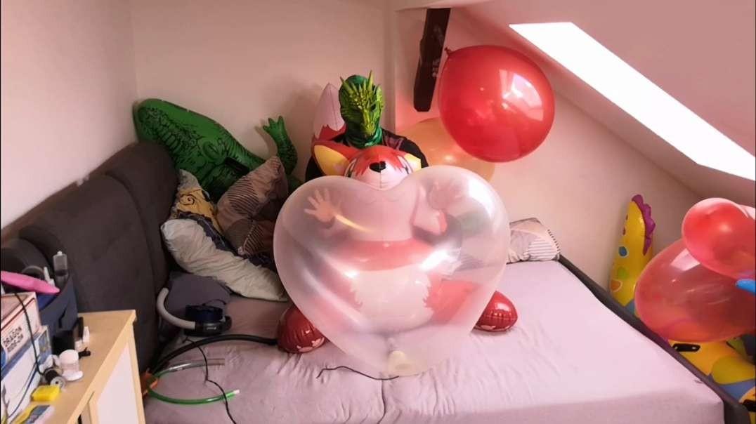 """(pop) 36"""" Cattex Heart balloon vs pump"""