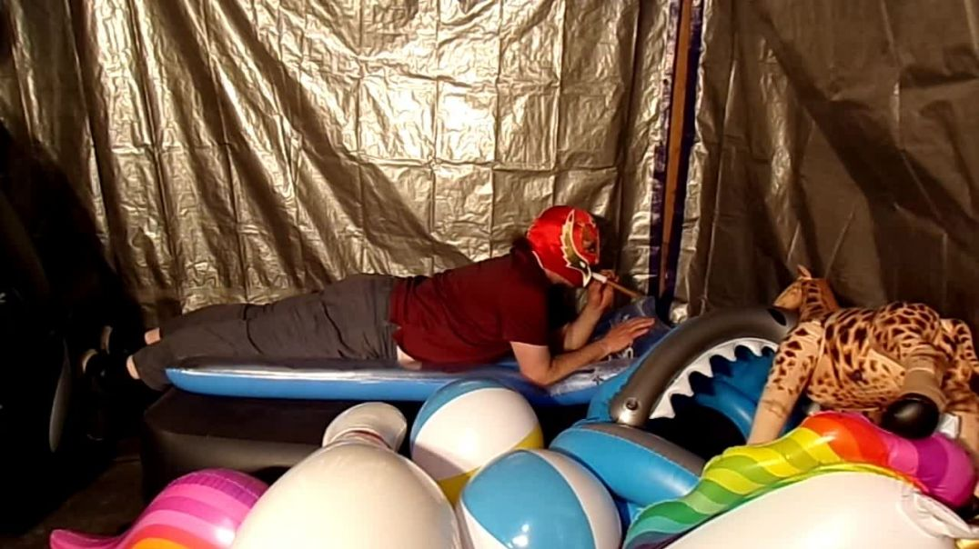 Popping and riding down inflatables