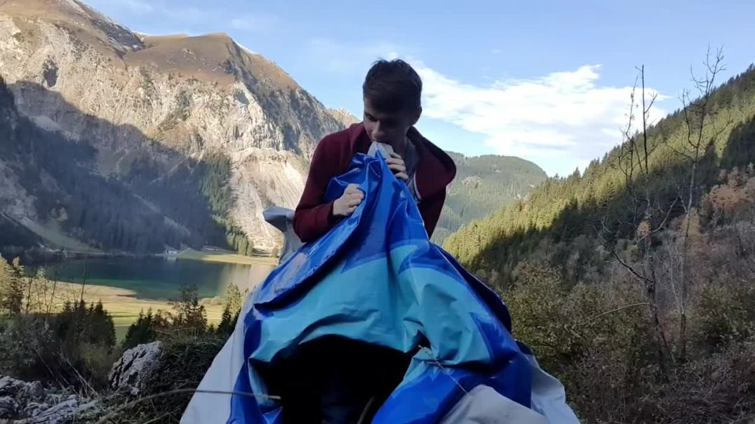 Inflating Aaron dragon by mouth - Vilsalp Lake 2020