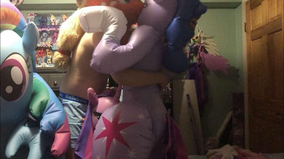 Inflatable pony yiff orgy