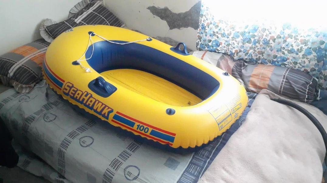 Vintage Intex Seahawk 100 boat inflation.