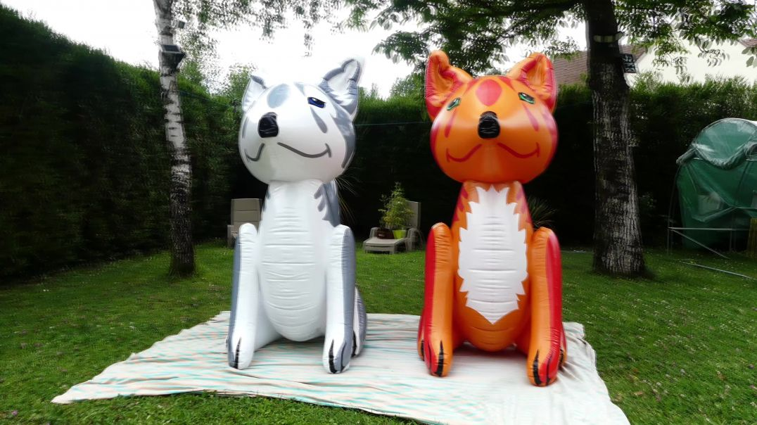 inflatable fox grey and red inflatable world