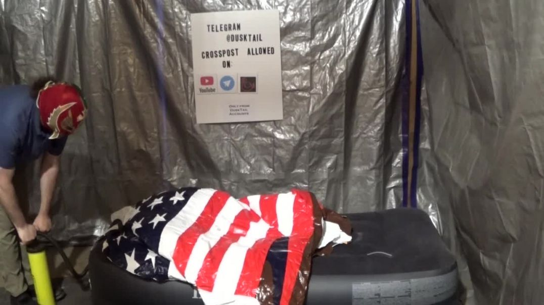 Inflating a Patriotic Eagle Pool Float